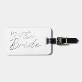 Étiquette À Bagage La jeune mariée - étiquette argentée de bagage