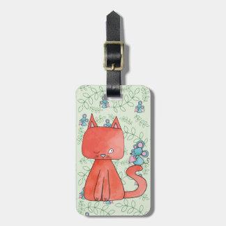 Étiquette À Bagage La souris mignonne aime le chat de Kitty