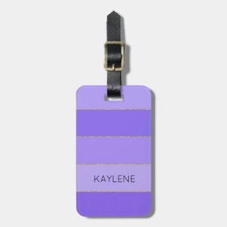 Étiquette À Bagage La violette personnalisée d'équilibre d'or barre