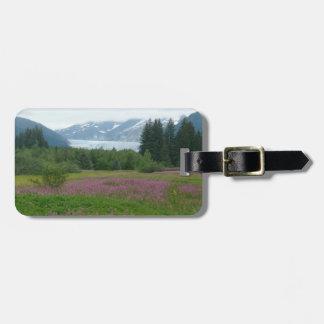 Étiquette À Bagage L'Alaska, glacier de Mendenhall et fleurs sauvages