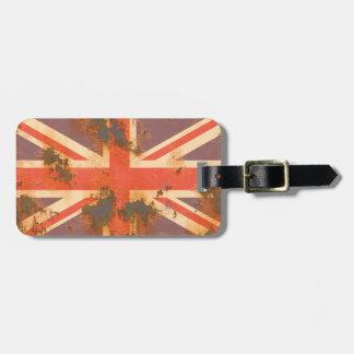 Étiquette À Bagage Le cru s'est rouillé drapeau du Royaume-Uni