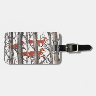 Étiquette À Bagage Le gris d'étiquette de bagage de forêt de Fox de