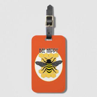 Étiquette À Bagage Le nid d'abeilles heureux d'amusement d'abeille