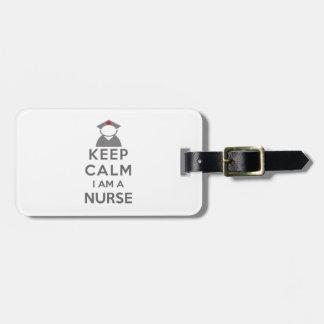 Étiquette À Bagage Le symbole d'infirmière gardent le calme que je