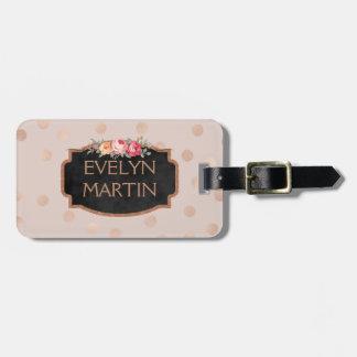 Étiquette À Bagage Les confettis roses personnalisés d'or pointillent