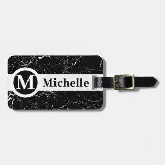 Étiquette À Bagage Ligne centrale de marbre noire personnalisée