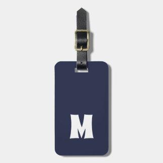 Étiquette À Bagage Lignes blanches bleues simples monogramme