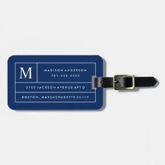 Étiquette À Bagage Lignes modernes étiquette de bleu marine de bagage