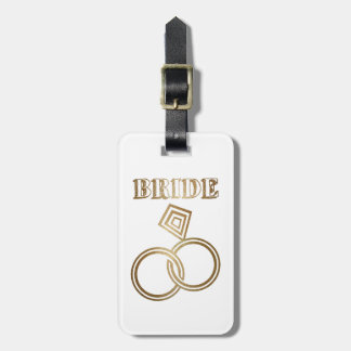Étiquette À Bagage L'or lié sonne le mariage de jeune mariée