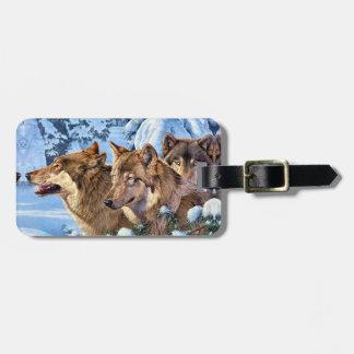Étiquette À Bagage Loup américain - loup brun - animal de loup