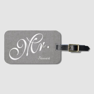 Étiquette À Bagage M. de toile gris Husband Groom Wedding de nouveaux