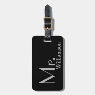 Étiquette À Bagage M. gris noir moderne Travel Luggage Tag