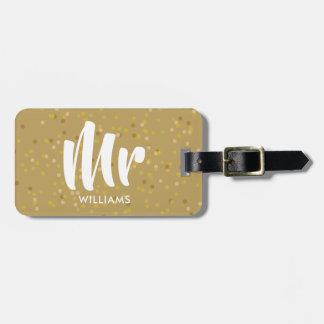 Étiquette À Bagage M. personnalisé de confettis de la poussière d'or