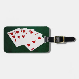 Étiquette À Bagage Mains de poker - affleurantes - costume de coeurs