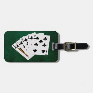 Étiquette À Bagage Mains de poker - flux droit - costume de clubs
