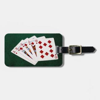 Étiquette À Bagage Mains de poker - quinte royale - costume de