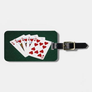 Étiquette À Bagage Mains de poker - quinte royale - costume de coeurs