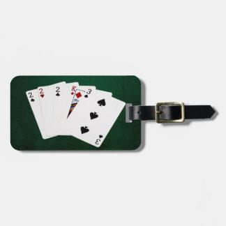 Étiquette À Bagage Mains de poker - trois d'une sorte - deux