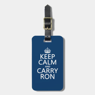 Étiquette À Bagage Maintenez calme et portez Ron (toute couleur)