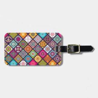 Étiquette À Bagage Marocain coloré de motif de mandala