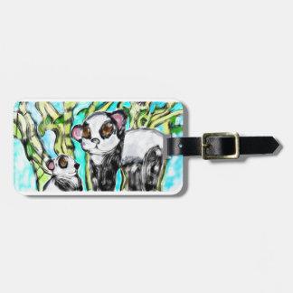 Étiquette À Bagage Mère et petit animal de panda