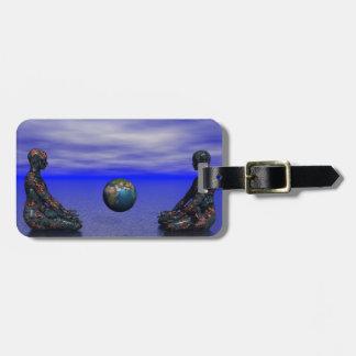 Étiquette À Bagage métal et planète de Bouddha