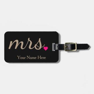 Étiquette À Bagage Mme personnalisée Wife Bride Newly Weds