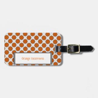 Étiquette À Bagage Modèle orange de ruban de fleur