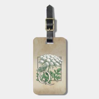 Étiquette À Bagage Monogramme de fleur de dentelle de la Reine Anne
