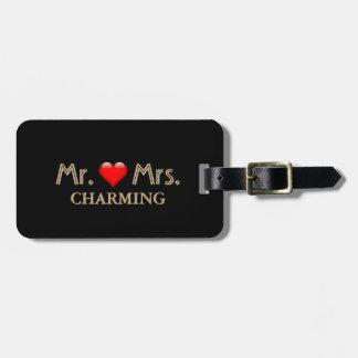 Étiquette À Bagage Monogramme d'or de M. et de Mme Honeymoon Red