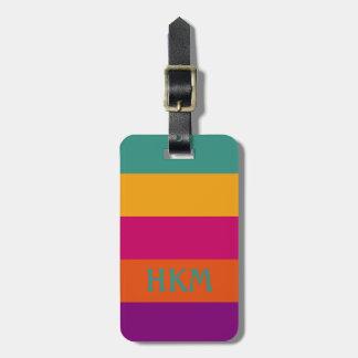 Étiquette À Bagage Monogramme gitan de rayure de palette de caravane