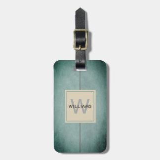 Étiquette À Bagage Monogramme gris-foncé bleu de texture élégante