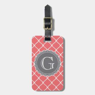 Étiquette À Bagage Monogramme marocain de corail de gris de motif de