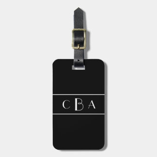 Étiquette À Bagage Monogramme noir et blanc
