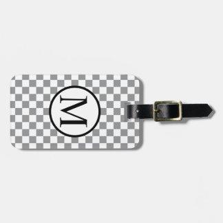 Étiquette À Bagage Monogramme simple avec le damier gris