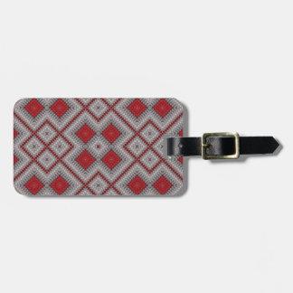 Étiquette À Bagage Motif abstrait géométrique rouge et gris vintage