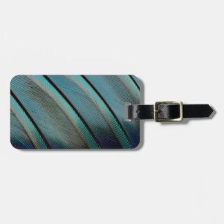 Étiquette À Bagage Motif bleu de plume