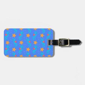 Étiquette À Bagage Motif bleu d'hippocampes et d'étoiles de mer
