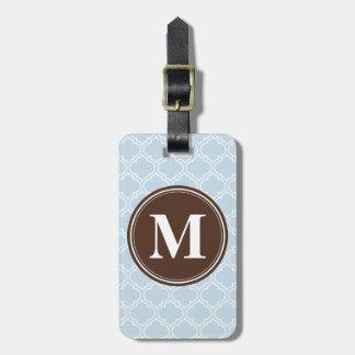 Étiquette À Bagage Motif décoré d'un monogramme de treillis de bleus