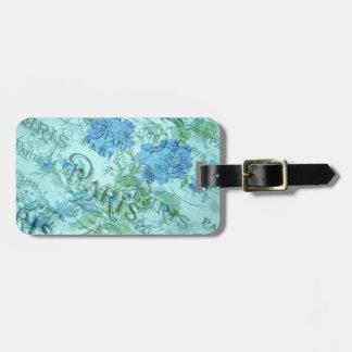 Étiquette À Bagage Motif floral bleu vintage de cachet de la poste de