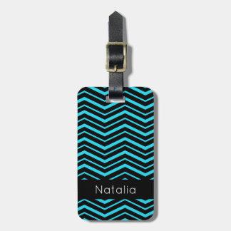 Étiquette À Bagage Motif géométrique rayé de zigzag bleu lumineux