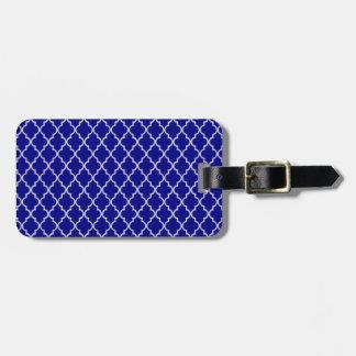 Étiquette À Bagage Motif marocain de bleu marine et blanc de treillis