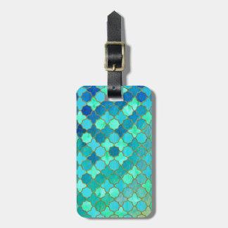 Étiquette À Bagage Motif marocain oriental de tuile d'or turquoise en