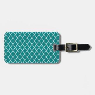 Étiquette À Bagage Motif marocain vert et blanc turquoise de treillis