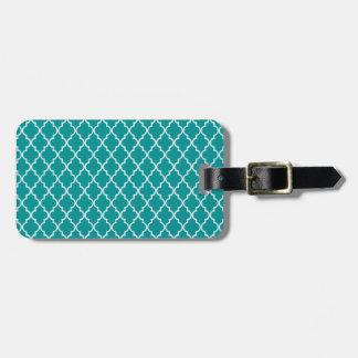 Étiquette À Bagage Motif marocain vert et blanc turquoise léger de