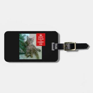 Étiquette À Bagage Motif personnalisé de chat. Étiquettes de bagage