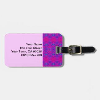 Étiquette À Bagage Motif rose lumineux d'abrégé sur turquoise
