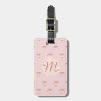 Étiquette À Bagage Motif rose précieux décoré d'un monogramme de