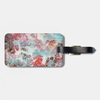 Étiquette À Bagage Motif turquoise floral rose chic romantique