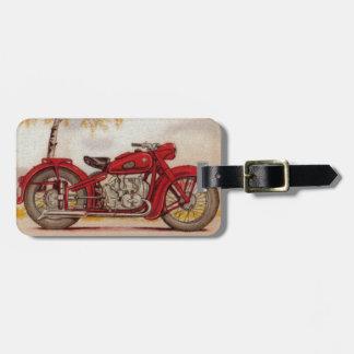 Étiquette À Bagage Moto rouge vintage